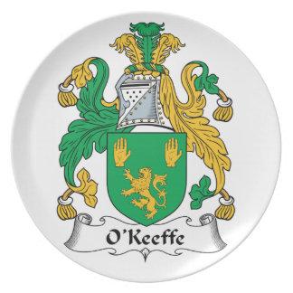 Escudo de la familia de O'Keefe Plato De Comida