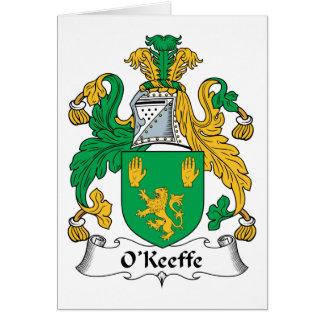 Escudo de la familia de O'Keefe Tarjetón