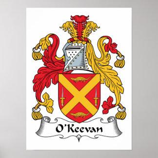 Escudo de la familia de O'Keevan Póster