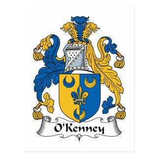 Escudo de la familia de O'Kenney Tarjetas Postales