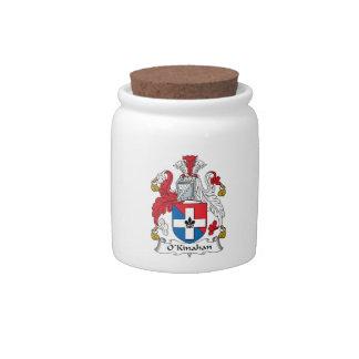 Escudo de la familia de O'Kinahan Tarro De Cerámica Para Dulces