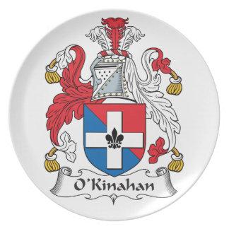 Escudo de la familia de O'Kinahan Plato De Cena