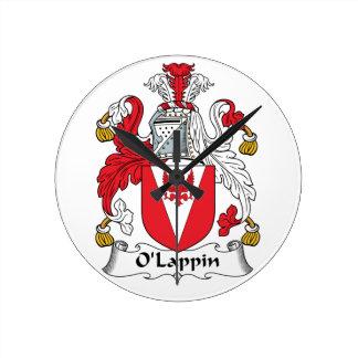 Escudo de la familia de O'Lappin Relojes De Pared