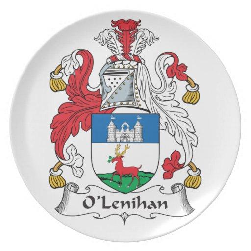 Escudo de la familia de O'Lenihan Plato De Comida
