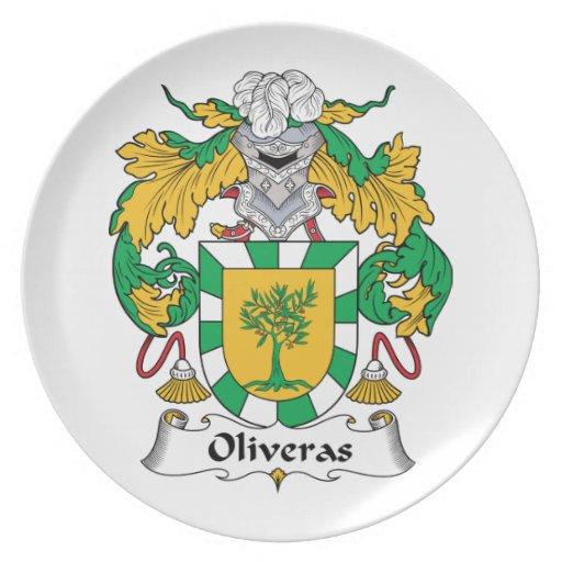 Escudo de la familia de Oliveras Platos Para Fiestas
