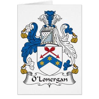 Escudo de la familia de O'Lonergan Tarjeta De Felicitación