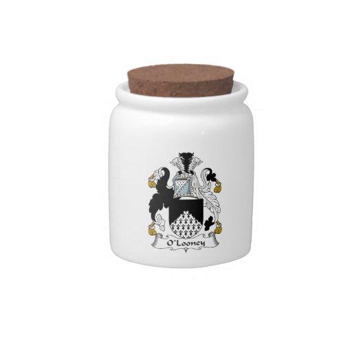 Escudo de la familia de O'Looney Jarra Para Caramelo