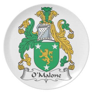 Escudo de la familia de O'Malone Plato De Comida