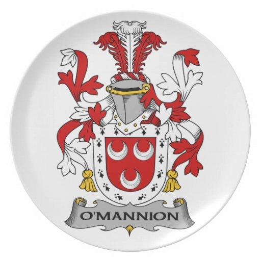 Escudo de la familia de O'Mannion Plato