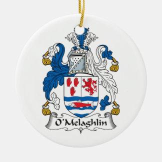 Escudo de la familia de O'Melaghlin Adorno Redondo De Cerámica