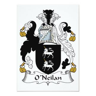 Escudo de la familia de O'Neilan Invitación 12,7 X 17,8 Cm