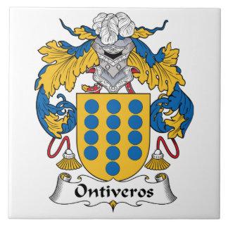Escudo de la familia de Ontiveros Azulejo Cuadrado Grande