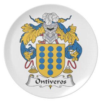 Escudo de la familia de Ontiveros Platos Para Fiestas