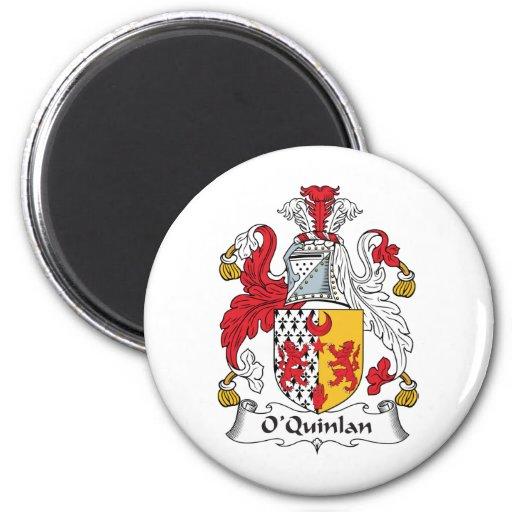 Escudo de la familia de O'Quinlan Imán Redondo 5 Cm