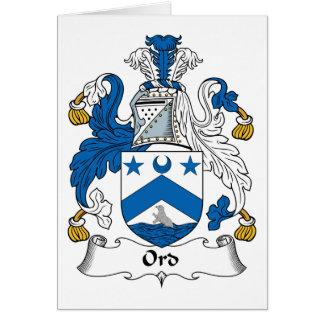Escudo de la familia de Ord Tarjeta De Felicitación