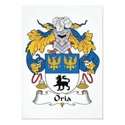Escudo de la familia de Oria Invitación 12,7 X 17,8 Cm