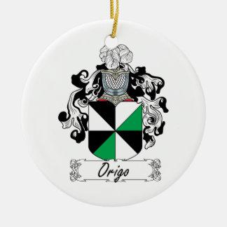 Escudo de la familia de Origo Adorno Navideño Redondo De Cerámica