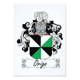 Escudo de la familia de Origo Invitación 12,7 X 17,8 Cm