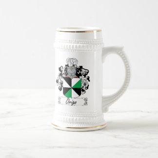 Escudo de la familia de Origo Jarra De Cerveza