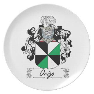 Escudo de la familia de Origo Plato De Cena