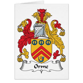 Escudo de la familia de Orme Tarjeta De Felicitación
