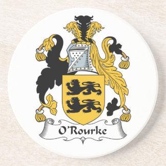 Escudo de la familia de O'Rourke Posavasos Cerveza