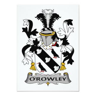 """Escudo de la familia de O'Rowley Invitación 5"""" X 7"""""""