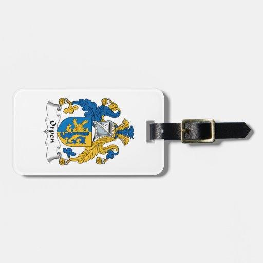 Escudo de la familia de Orpen Etiqueta De Maleta