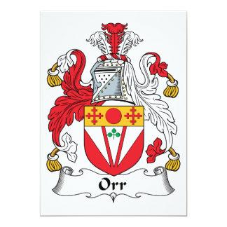 """Escudo de la familia de Orr Invitación 5"""" X 7"""""""