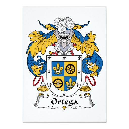 Escudo de la familia de Ortega Invitación 12,7 X 17,8 Cm