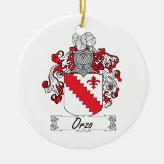 Escudo de la familia de Orzo Adorno Navideño Redondo De Cerámica