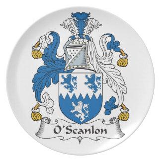 Escudo de la familia de O'Scanlon Platos De Comidas