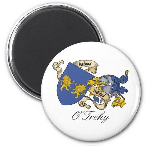 Escudo de la familia de O'Trehy Imán Redondo 5 Cm
