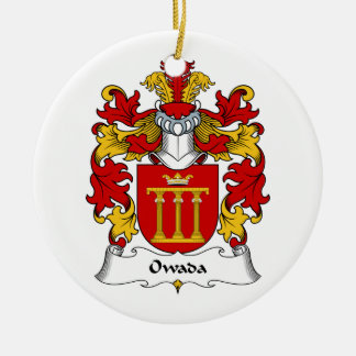 Escudo de la familia de Owada Adorno Redondo De Cerámica