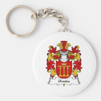Escudo de la familia de Owada Llavero Redondo Tipo Pin