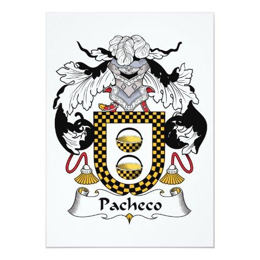 """Escudo de la familia de Pacheco Invitación 5"""" X 7"""""""