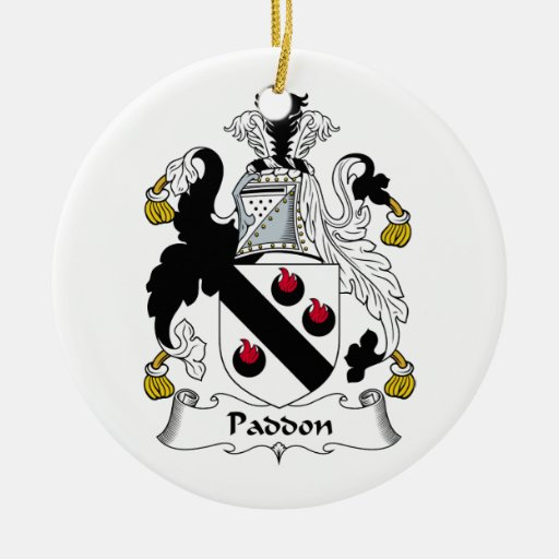 Escudo de la familia de Paddon Adorno Navideño Redondo De Cerámica