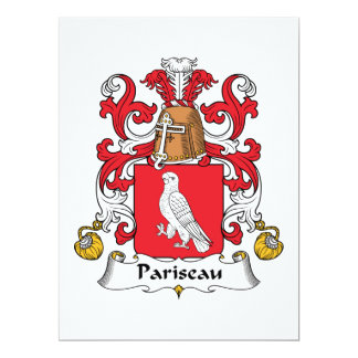 """Escudo de la familia de Pariseau Invitación 6.5"""" X 8.75"""""""