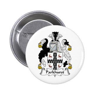 Escudo de la familia de Parkhurst Pin Redondo De 2 Pulgadas