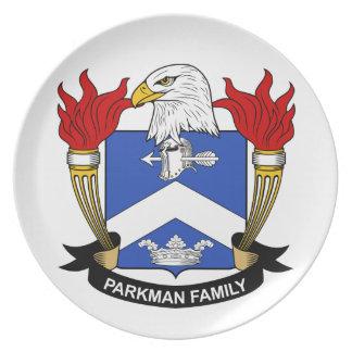 Escudo de la familia de Parkman Platos De Comidas