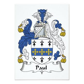"""Escudo de la familia de Paul Invitación 5"""" X 7"""""""