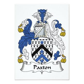 """Escudo de la familia de Paxton Invitación 5"""" X 7"""""""