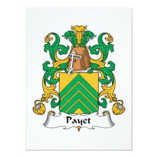 """Escudo de la familia de Payet Invitación 6.5"""" X 8.75"""""""