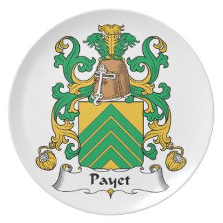Escudo de la familia de Payet Platos De Comidas