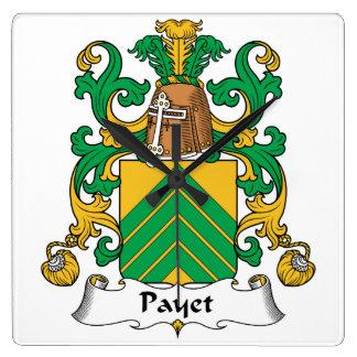 Escudo de la familia de Payet Reloj Cuadrado