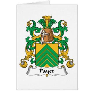 Escudo de la familia de Payet Tarjeta De Felicitación