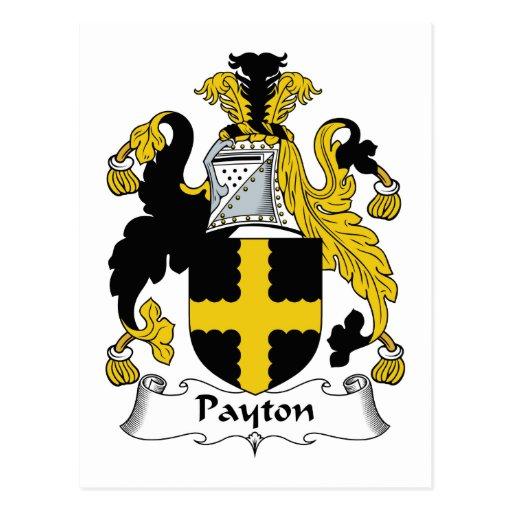 Escudo de la familia de Payton Tarjetas Postales