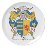 Escudo de la familia de Paz Platos Para Fiestas