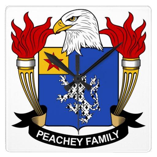 Escudo de la familia de Peachey Relojes De Pared