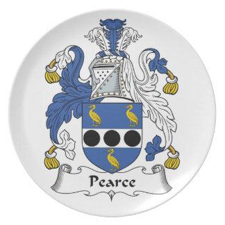 Escudo de la familia de Pearce Plato Para Fiesta
